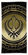 Decorative Khanda Symbol Gold On Black Beach Towel