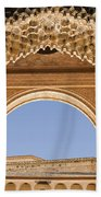 Decorative Moorish Architecture In The Nasrid Palaces At The Alhambra Granada Spain Beach Towel