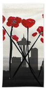 Decorative Skyline Abstract  Seattle T1115x1 Beach Towel by Mas Art Studio