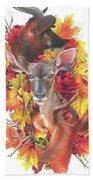 Deer And Fall Leaves Beach Towel