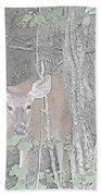 Deer By The Tree Line Beach Sheet