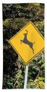 Deer Crossing Sign 2 Beach Towel