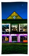 Defiance College Library Night View Beach Towel