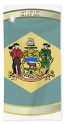 Delaware State Flag Oval Button Beach Towel