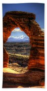 Delicate Arch Framing La Sal Mountains Beach Towel
