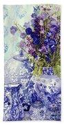 Delphiniums With Antique Blue Pots Beach Sheet