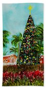 Delray Beach Christmas Tree Beach Towel
