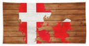 Denmark Rustic Map On Wood Beach Towel