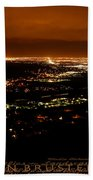 Denver Area At Night From Lookout Mountain Beach Towel