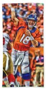 Denver Broncos Peyton Manning Oil Art Beach Towel