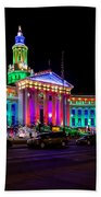 Denver City County Building Holiday Lighting. Beach Towel