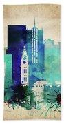 Denver Colorado Vintage Skyline Beach Towel