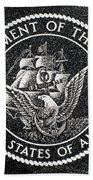 Department Of The Navy Emblem Polished Granite Beach Towel