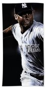 Derek Jeter Beach Towel by Paul Ward