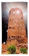 Desert View Tower, Starry Night, Grand Canyon Beach Towel