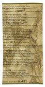 Desiderata #8 Beach Towel