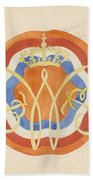 Design For A Plate With A Crowned W, Carel Adolph Lion Cachet, 1874 - 1945 Beach Towel