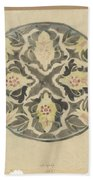 Design For A Plate With Floral Decoration, Carel Adolph Lion Cachet, 1874 - 1945 Beach Towel