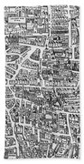 Detail From A Map Of Paris In The Reign Of Henri II Showing The Quartier Des Ecoles Beach Towel