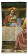 Detail From The Last Supper Beach Towel by Domenico Ghirlandaio