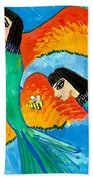 Detail Of Bird People Little Green Bee Eaters Of Upper Egypt 2 Beach Towel