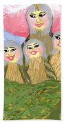 Detail Of Bird People The Chaffinch Family Nest Beach Towel