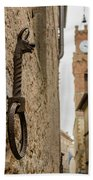 Detail Of Iron On A Wall Of Pienza, Tuscany, Italy Beach Towel