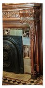 Detail Of Wood Carving And Tiles - Historic Fireplace Beach Towel