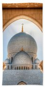 Detail View At Dome Of Sheikh Zayed Grand Mosque, Abu Dhabi, United Arab Emirates Beach Towel