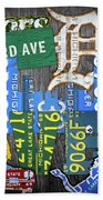 Detroit The Motor City Michigan License Plate Art Collage Beach Towel