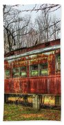 Devastation Railroad Passenger Train Car Fire Art Beach Towel