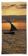 Dhow At Sunset Beach Towel