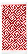 Diagonal Greek Key With Border In Red Beach Towel