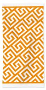 Diagonal Greek Key With Border In Tangerine Beach Towel