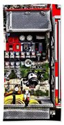 Dials And Hoses On Fire Truck Beach Towel