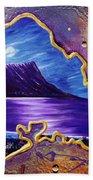 Diamond Head Moon Oahu #141 Beach Towel