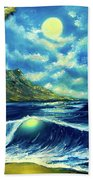 Diamond Head Moon Waikiki Beach #407 Beach Towel