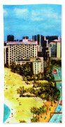Diamond Head Waikiki Beach Kalakaua Avenue #94 Beach Towel