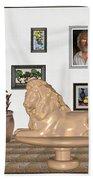 Digital Exhibition _  Sculpture Of A Lion Beach Towel