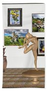 Digital Exhibition _ Statue Of  Erotic Acrobatics  2 Beach Towel
