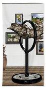 digital exhibition _ Statue  of fish  12 Beach Towel