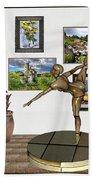 digital exhibition _ Statue of girl acrobat 35 Beach Towel