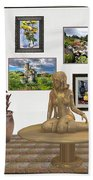digital exhibition _Statue 2 of posing girl 221 Beach Towel