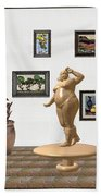 digital exhibition  Statue 23 of posing lady  Beach Towel