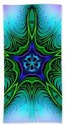 Digital Kaleidoscope Green Star 001 Beach Towel