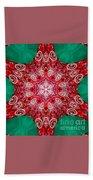 Digital Kaleidoscope Red-green-white 8 Beach Towel