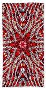 Digital Kaleidoscope Red-white 4 Beach Towel