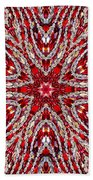 Digital Kaleidoscope Red-white 4 Beach Sheet