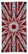 Digital Kaleidoscope Red-white 7 Beach Towel