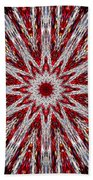 Digital Kaleidoscope Red-white 7 Beach Sheet
